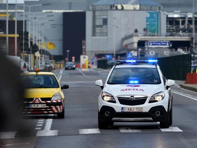 A car of Brussels airport medical assistance the  airport in Zaventem following twin blasts.