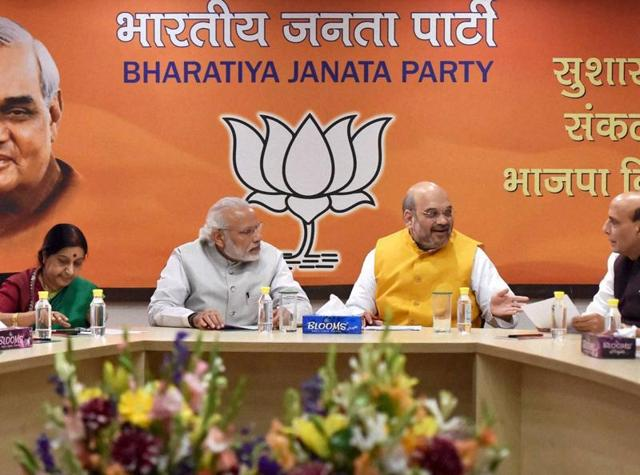 Prime Minister Narendra Modi, BJP President Amit Shah, Union ministers Rajnath Singh, Arun Jaitley, Sushma Swaraj and other party leaders at an election campaign committee meeting.