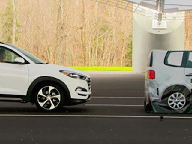 In this frame grab from video as a vehicle closes in on a Strikeable Surrogate Vehicle (SSV) at the IIHS Vehicle Research Center in Ruckersville.