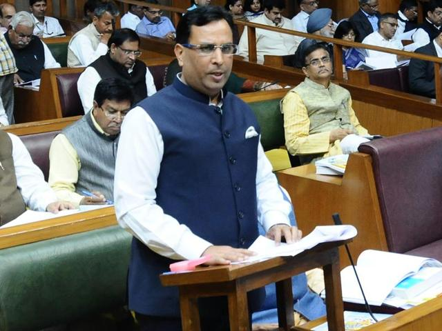 Haryana finance minister Capt Abhimanyu presenting the budget at the Haryana Vidhan Sabha in Chandigarh on Monday.