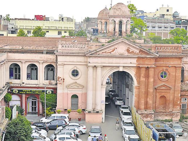 The heritage building of the Town Hall that houses the office of the Amritsar Municipal Corporation.