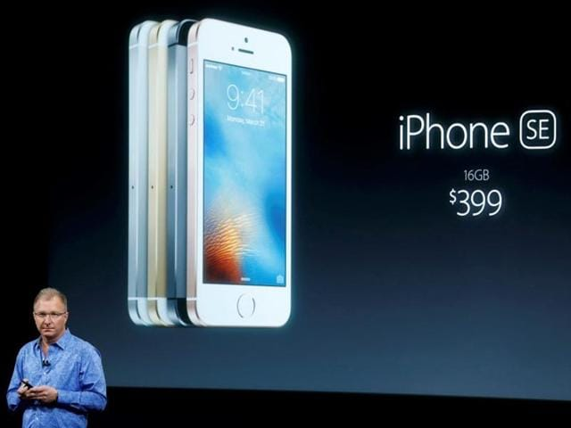 Apple vice-president Greg Joswiak introduces the iPhone SE during an event at the Apple headquarters in Cupertino, California, on Monday.