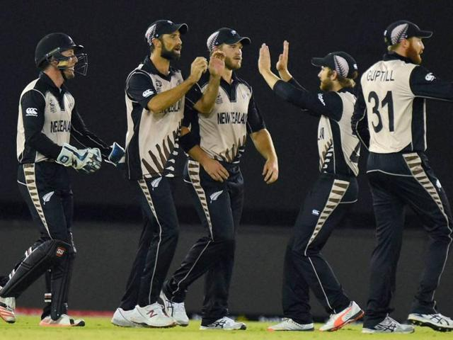 New Zealand players celebrate the wicket of Pakistani cricketer Sharjeel Khan during the ICC World T20.