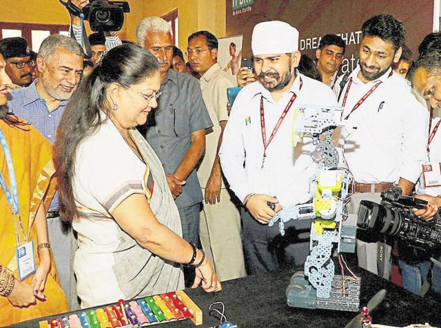 Chief minister Vasundhara Raje at the Rajasthan IT Day event at Birla Auditorium in Jaipur on Monday.