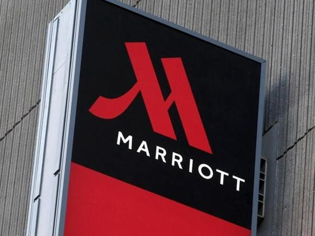 Signage for the New York Marriott Marquis is seen in Manhattan, New York.