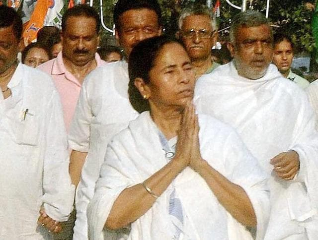 West Bengal chief minister & Trinamool Congress supremo Mamata Banerjee at an election campaign rally.