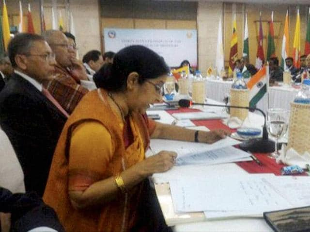 External affairs minister Sushma Swaraj at the 37th SAARC council of ministers meeting in Pokhara.