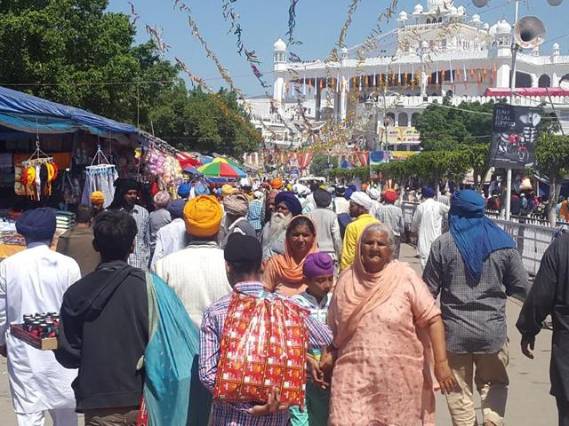 It was at this shrine that the 10th Sikh master Guru Gobind Singh had in 1699 baptized five men and founded the Khalsa Panth, which is the modern-day Sikh religion.(HT File Photo)