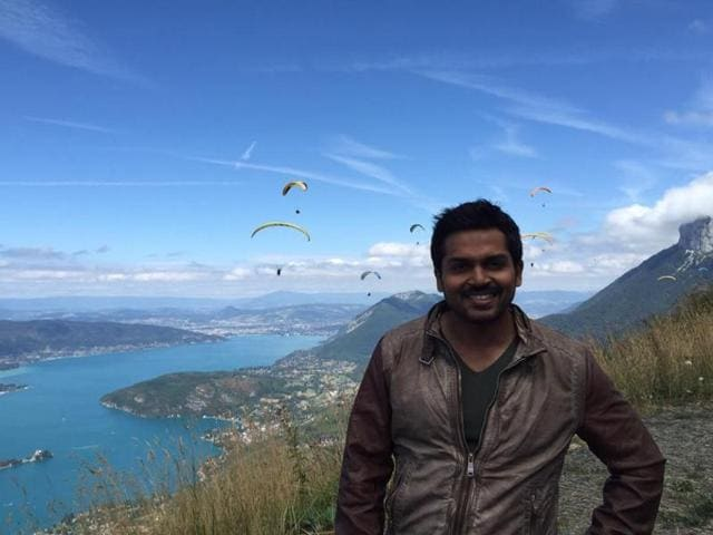 Karthi plays an NRI who works as a pilot in the film.