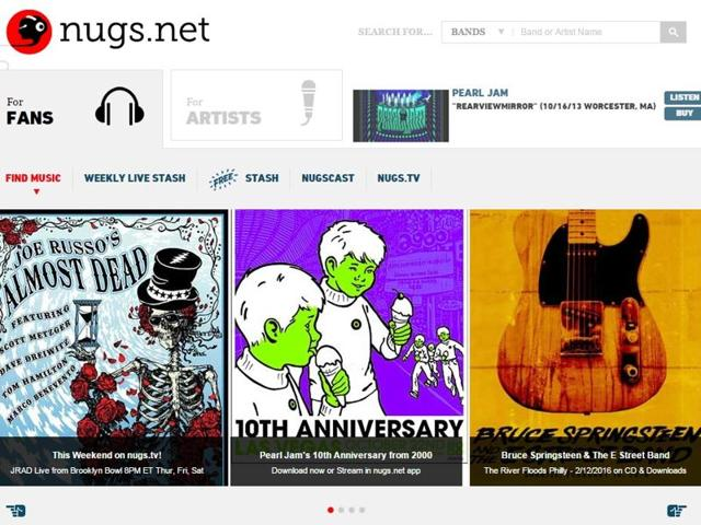 Phish, Metallica and Pearl Jam also sell recordings of their shows through Nugs
