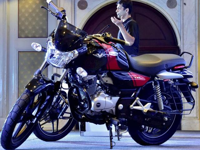 Bajaj's new motorcycle range 'V' is made from metal from the decommissioned warship INS Vikrant.
