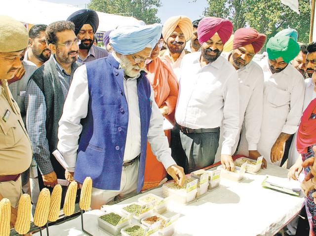 PAU vice-chancellor Baldev Singh Dhillon visiting stalls at the kisan mela in Bathinda on Tuesday.