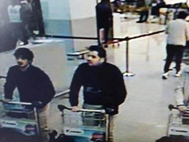 This CCTV image from the Brussels Airport surveillance cameras made available by Belgian Police, shows what officials believe may be suspects in the Brussels airport attack on March 22.