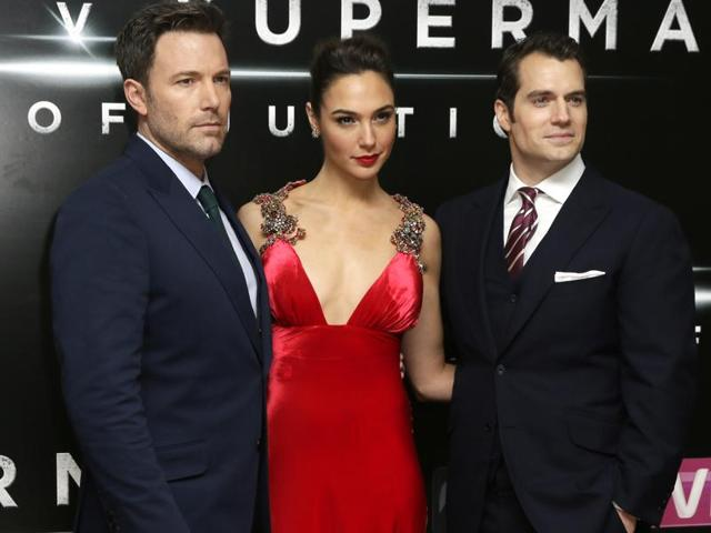 Actors Ben Affleck, from left, Gal Gadot and Henry Cavill at the premiere of the film Batman V Superman in London.