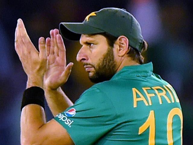 Pakistani Cricket Captain Shahid Afridi during the ICC World T20 match against New Zealand.