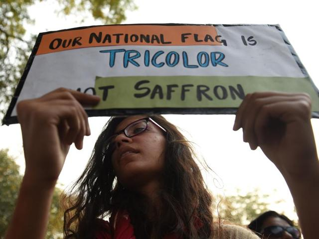 Jawaharlal Nehru University student union leader Kanhaiya Kumar at a protest march to the Parliament House.