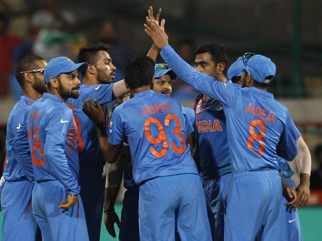 Indian players celebrate the dismissal of Bangladesh's Mohammad Mithun during their ICC World Twenty20 .