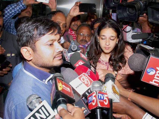 JNUstudent leader Kanhaiya Kumar addresses  media in Hyderabad on Wednesday.