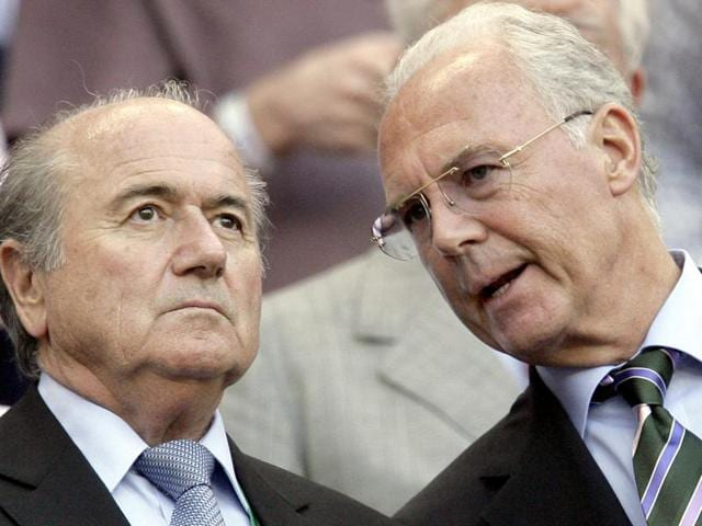 A file photo of Germany`s organizing committee Chairman Franz Beckenbauer and former FIFAPresident Joseph Sepp Blatter.