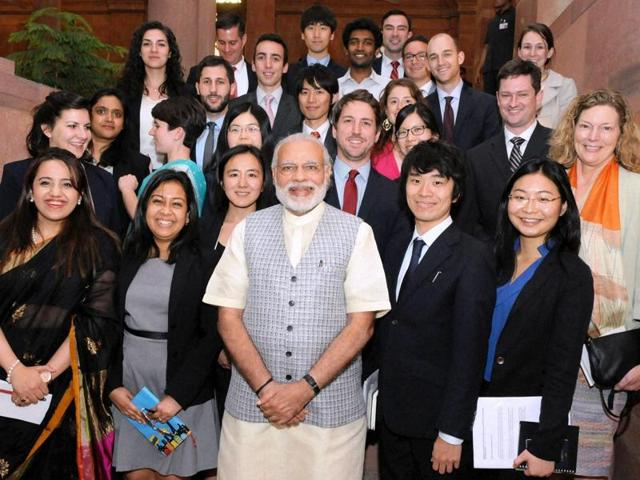 Prime Minister Narendra Modi interacts with Stanford University students, in New Delhi.