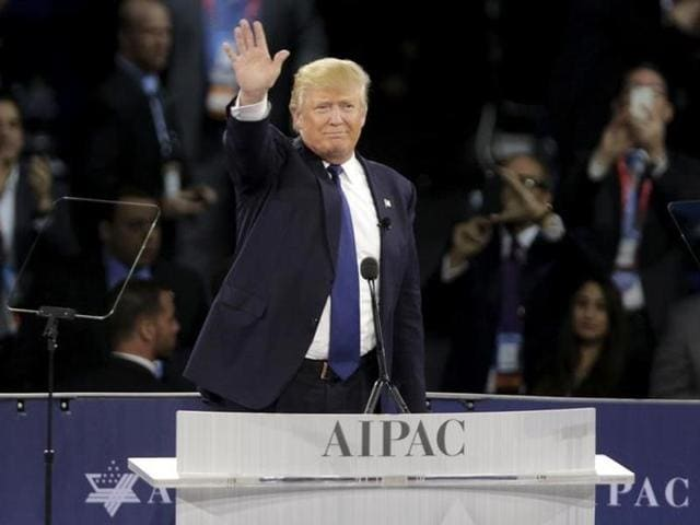 Republican presidential candidate Donald Trump speaks at the 2016 American Israel Public Affairs Committee Policy Conference.