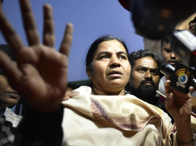 Radhika Vemula, Rohith's mother, wanted to hold a protest demonstration inside, but was prevented from entering the HCU campus.
