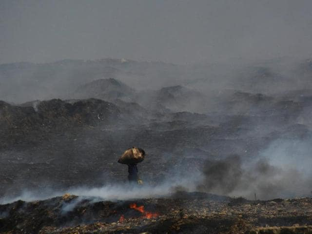 The fire at the Deonar dumping ground.