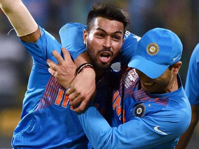 Hardik Pandya with team mates celebrate the win over Bangladesh during the ICC World T20 match.