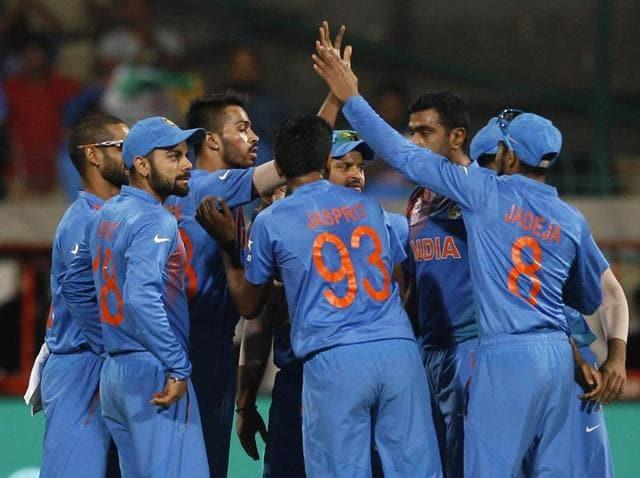 Hardik Pandya (L) and Yuvraj Singh celebrate after winning their match against Bangladesh.