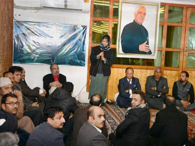 People Democratic Party (PDP) President Mehbooba Mufti addressing a crucial Legislature party meeting in which she was elected chief minister candidate and Legislature party Leader at her residence in Srinagar.