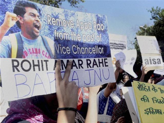 AISA students holding a demonstration demanding justice for the Dalit scholar Rohith Vemula.