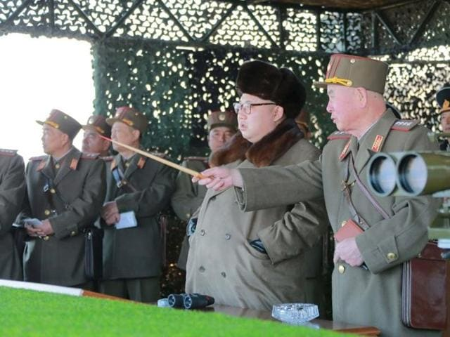 North Korean leader Kim Jong Un watches landing and anti-landing exercises being carried out by the Korean People's Army (KPA).