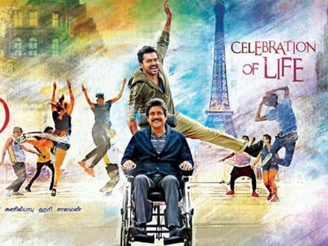 Thozha is a Tamil/Telugu remake of the French film, The Intouchables, starring Nagarjuna and Karthi. The French original starred Francois Cluzet and Omar Sy.