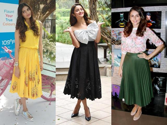 Longs skirts at designers Shantanu & Nikhil and Rina Dhaka's runway at Amazon India Fashion Week.