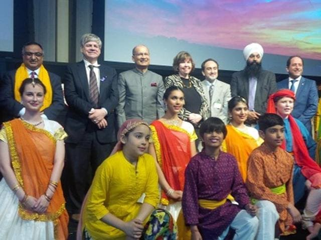 Indian high commissioner Vishnu Prakash (fourth from left in second row) attending the first-ever Holi celebrations within Canada's parliament complex on Thursday.