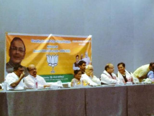 FM Arun Jaitley launches the BJP's Assam Vision Document for 2016-2025