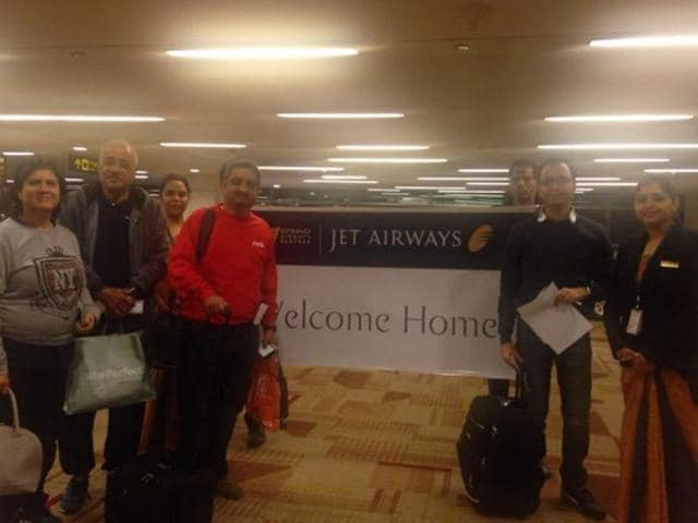 Jet airways flight  9w1229 from Amsterdam to Delhi carrying passengers stuck at  Brussels airport arrived in Delhi