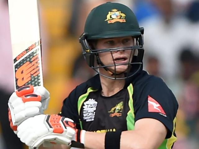 Australia's captain Steve Smith plays a shot during the World T20 cricket tournament match.