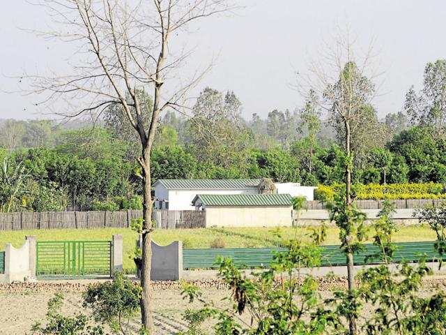 Illegal farm houses along the river Yamuna in Noida.