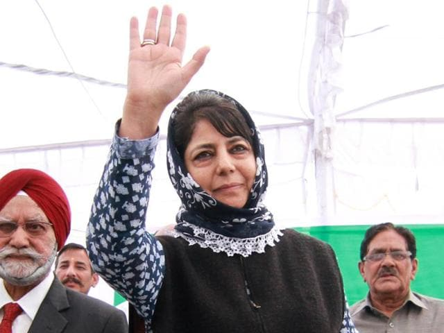 PDP president Mehbooba Mufti during a legislature party meeting in which she was elected chief minister candidate and legislature party leader at her residence in Srinagar on Thursday.