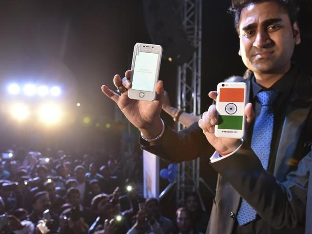 Mohit Goel of Ringing Bells during the launch of Freedom 251 mobile phones, in New Delhi.