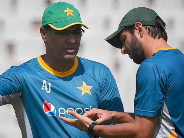 Pakistan captain Shahid Afridi with coach Waqar Younis during a training session.