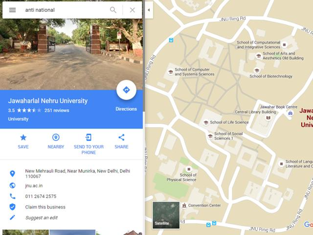 Typing 'anti-national' in Google Maps search bar shows JNU campus. Google calls it a bug and says they're working on a fix.