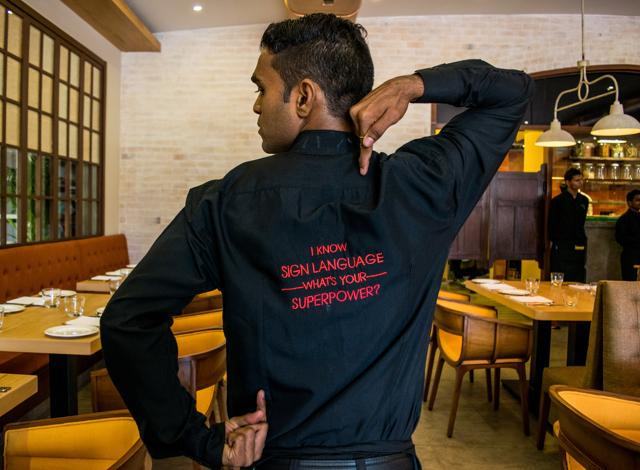 At Mirchi and Mime restaurant in Powai, Mumbai, you can communicate with hearing-impaired servers through gestures