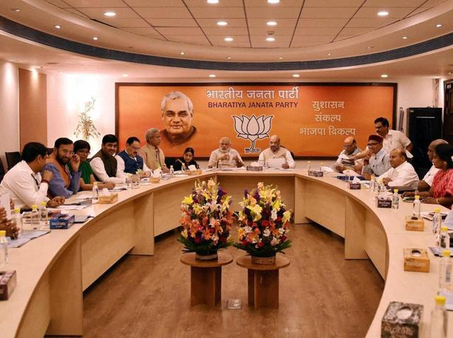Prime Minister Narendra Modi , BJP President Amit Shah, Home Minister Rajnath Singh and others at BJP's election committee meeting on Tamil Nadu, in New Delhi on Friday.