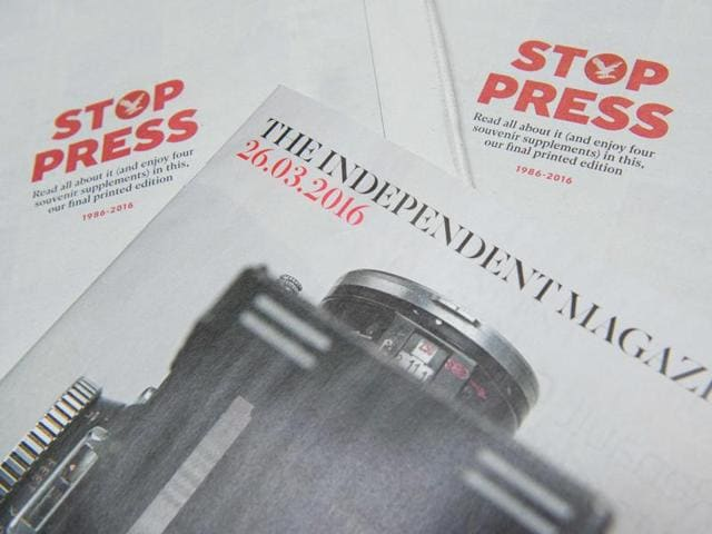 A tablet displays a digitised version of the front page of the final print edition of the Independent newspaper in London.