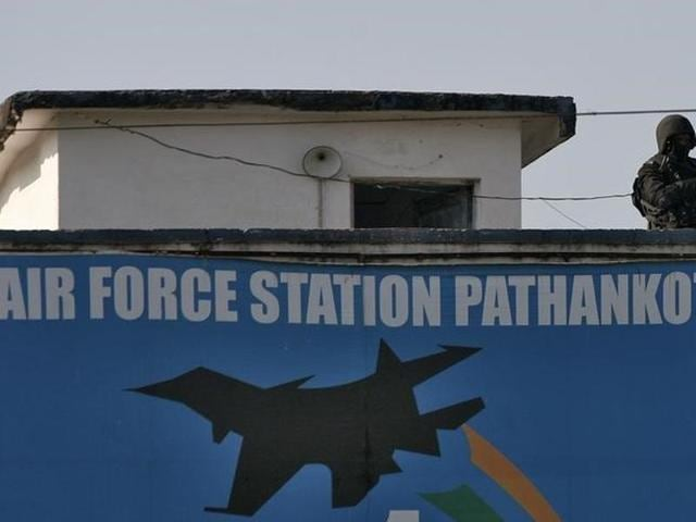 File photo of an Indian security personnel standing guard on a building at the Indian Air Force (IAF) base at Pathankot in Punjab, India, January 5, 2016.