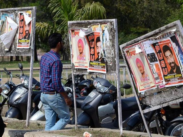 Posters of different student organisations on the Panjab University campus in Chandigarh on Friday.