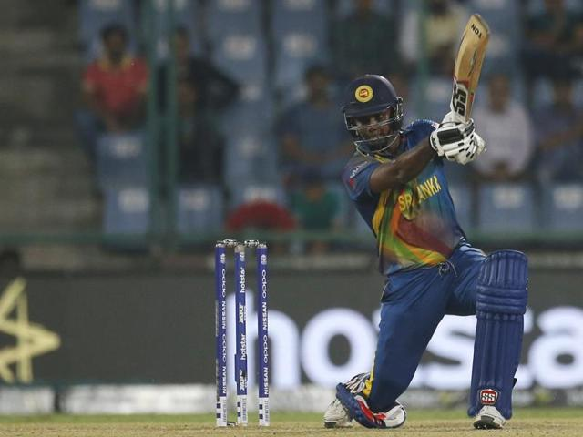 Sri Lanka's captain Angelo Mathews plays a shot against England during their World T20 match in New Delhi on Saturday.