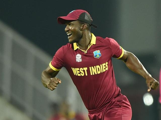 West Indies captain Darren Sammy celebrates after the wicket of South Africa's Hashim Amla during the World T20 match at The Vidarbha Cricket Association Stadium in Nagpur on March 25, 2016.